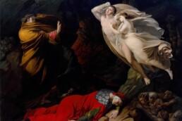 Francesca da Rimini nell'Inferno dantesco, Nicola Monti, 1810, olio su tela (168 x 21 cm). Gallerie degli Uffizi